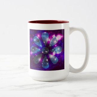 Flor Coffe del espacio/taza del té Taza Dos Tonos