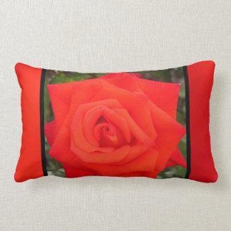 Flor color de rosa anaranjada roja cojines