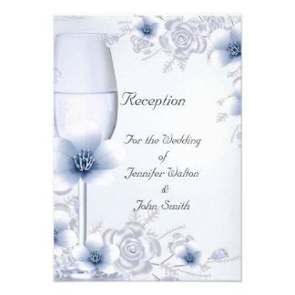 Flor color de rosa azul de la plata del boda de la anuncios personalizados