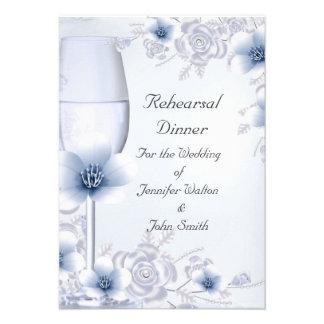 Flor color de rosa azul de la plata del boda de la invitacion personalizada
