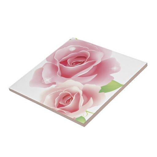 Flor color de rosa tejas