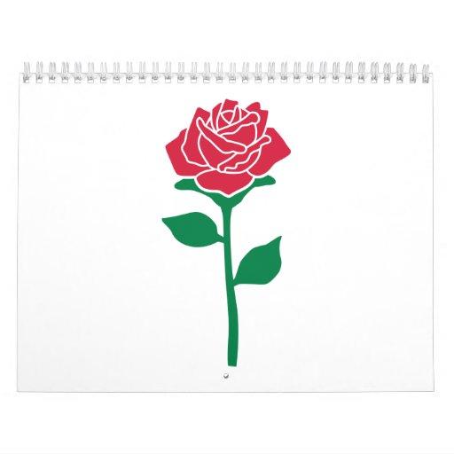 Flor color de rosa calendarios de pared