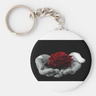 Flor color de rosa del amor llavero