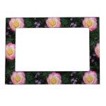 Flor color de rosa rosada marcos magnéticos de fotos
