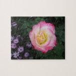 Flor color de rosa rosada rompecabezas con fotos