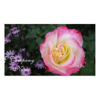 Flor color de rosa rosada tarjetas de visita