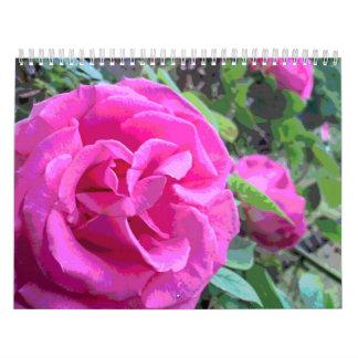 Flor color de rosa rosado clásico calendario