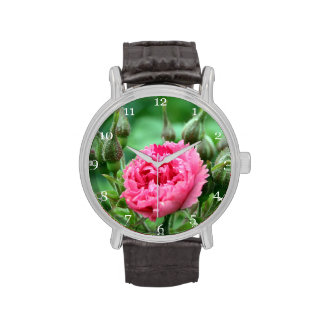 flor color de rosa salvaje rosada floral relojes de mano