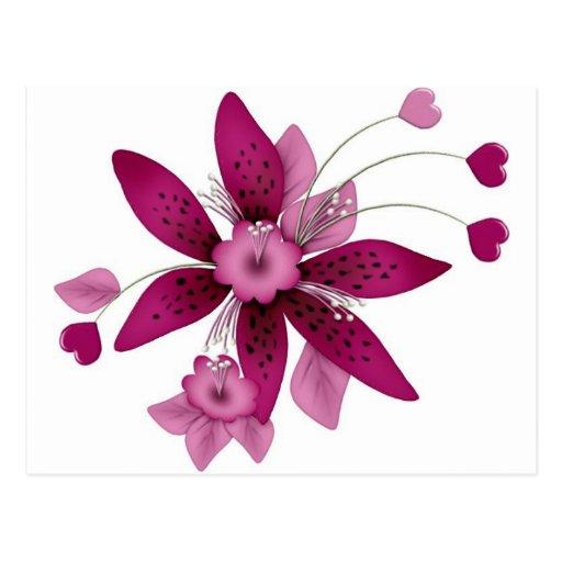 flor coloreada arándano con los corazones tarjetas postales