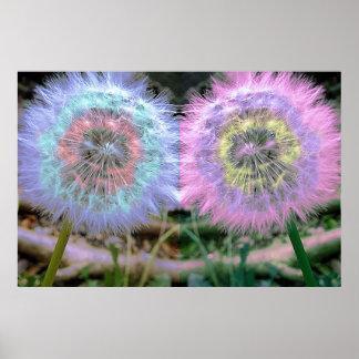 Flor coloreada multi psicodélica enrrollada del póster