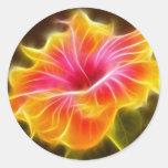 Flor colorida brillante del hibisco pegatinas redondas