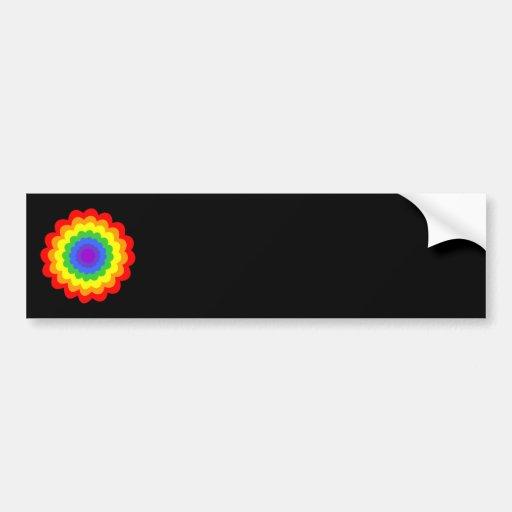 Flor colorida brillante en colores del arco iris pegatina de parachoque