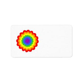 Flor colorida brillante en colores del arco iris etiqueta de dirección