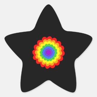 Flor colorida brillante en colores del arco iris pegatina forma de estrella personalizadas