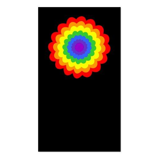 Flor colorida brillante en colores del arco iris plantillas de tarjeta de negocio