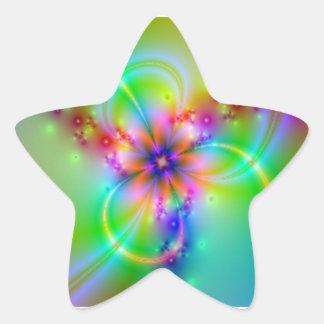 Flor colorida con las cintas pegatina en forma de estrella