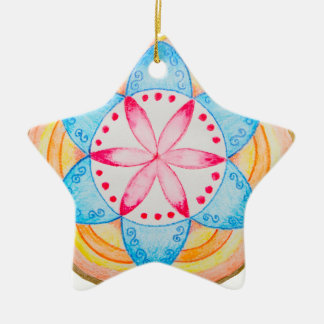 Flor colorida de la mandala pintada a mano adorno de cerámica en forma de estrella