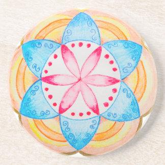 Flor colorida de la mandala pintada a mano posavasos para bebidas