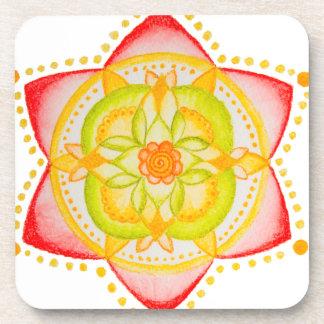 Flor colorida de la mandala pintada a mano posavasos de bebida