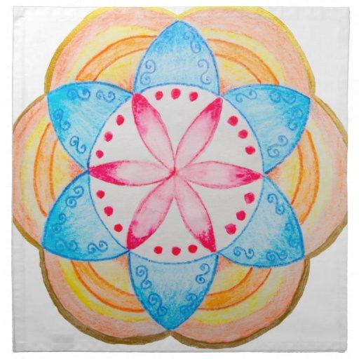 Flor colorida de la mandala pintada a mano servilletas de papel