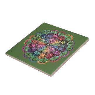 Flor colorida dibujada mano azulejo cuadrado pequeño