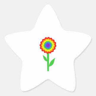 Flor colorida en colores del arco iris calcomanías forma de estrellaes personalizadas