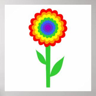 Flor colorida en colores del arco iris póster