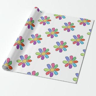 Flor colorida en cualquier ampliación de foto del papel de regalo