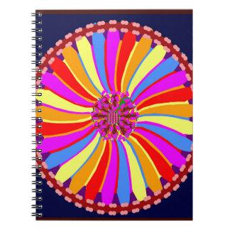 Flor colorida gráfica libros de apuntes