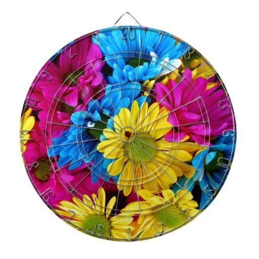 Flor colorida tablero de dardos