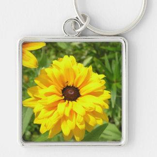 Flor combinada amarilla llavero personalizado
