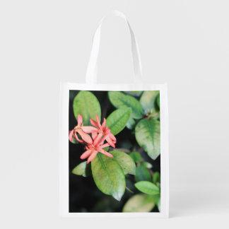 Flor coralina exótica tropical, bolso reutilizable bolsa para la compra