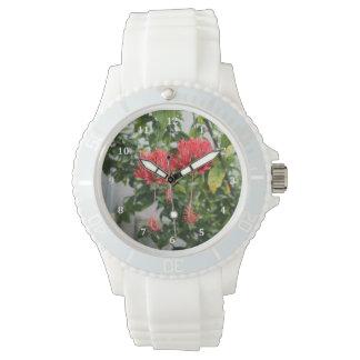 Flor coralina franjada tropical del hibisco reloj de mano