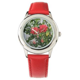Flor coralina franjada tropical del hibisco relojes de mano