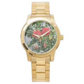 Flor coralina franjada tropical del hibisco relojes de pulsera