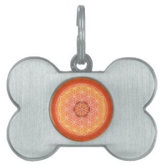 Flor de 2 Chakra del naranja de la vida Placas De Nombre De Mascota