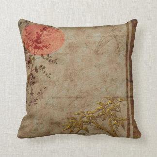 Flor de bambú rojo del oro rústico asiático de las cojines
