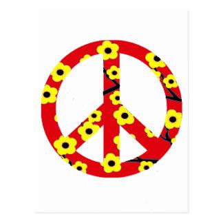 Flor de cerezo amarilla roja del signo de la paz tarjetas postales