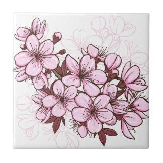 Flor de cerezo azulejo cuadrado pequeño