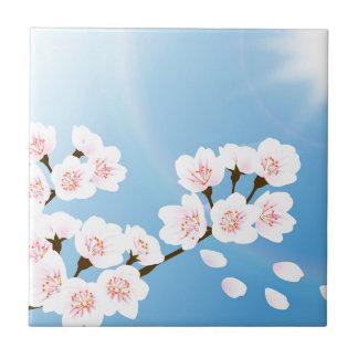 Flor de cerezo blanca y azul rosada azulejo cuadrado pequeño