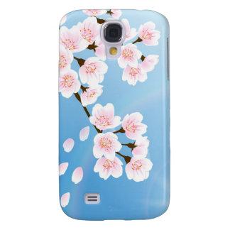 Flor de cerezo blanca y azul rosada