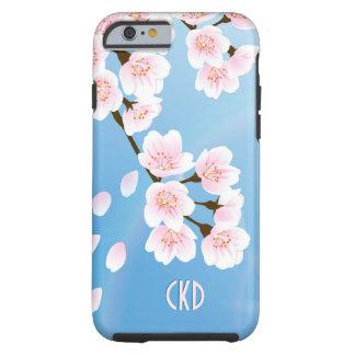Flor de cerezo blanca y azul rosada funda de iPhone 6 tough