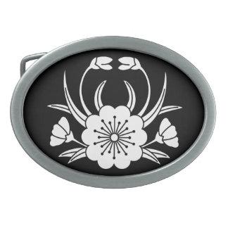 flor de cerezo Cangrejo-formada Hebilla De Cinturón Oval