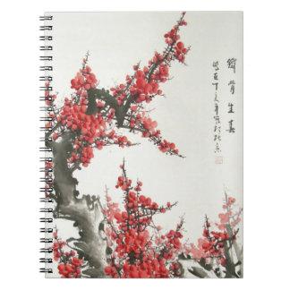 Flor de cerezo china libro de apuntes con espiral