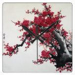Flor de cerezo china relojes de pared