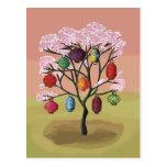 Flor de cerezo con las linternas de papel postales
