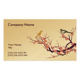 Flor de cerezo con los pájaros tarjetas de visita