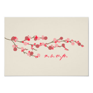 """Flor de cerezo de la acuarela que casa RSVP Invitación 3.5"""" X 5"""""""
