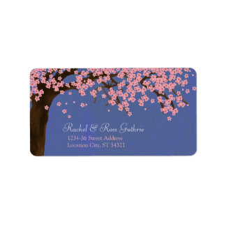 Flor de cerezo/dirección de la acuarela de Sakura  Etiqueta De Dirección