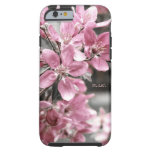 Flor de cerezo en fondo blanco y negro funda de iPhone 6 tough